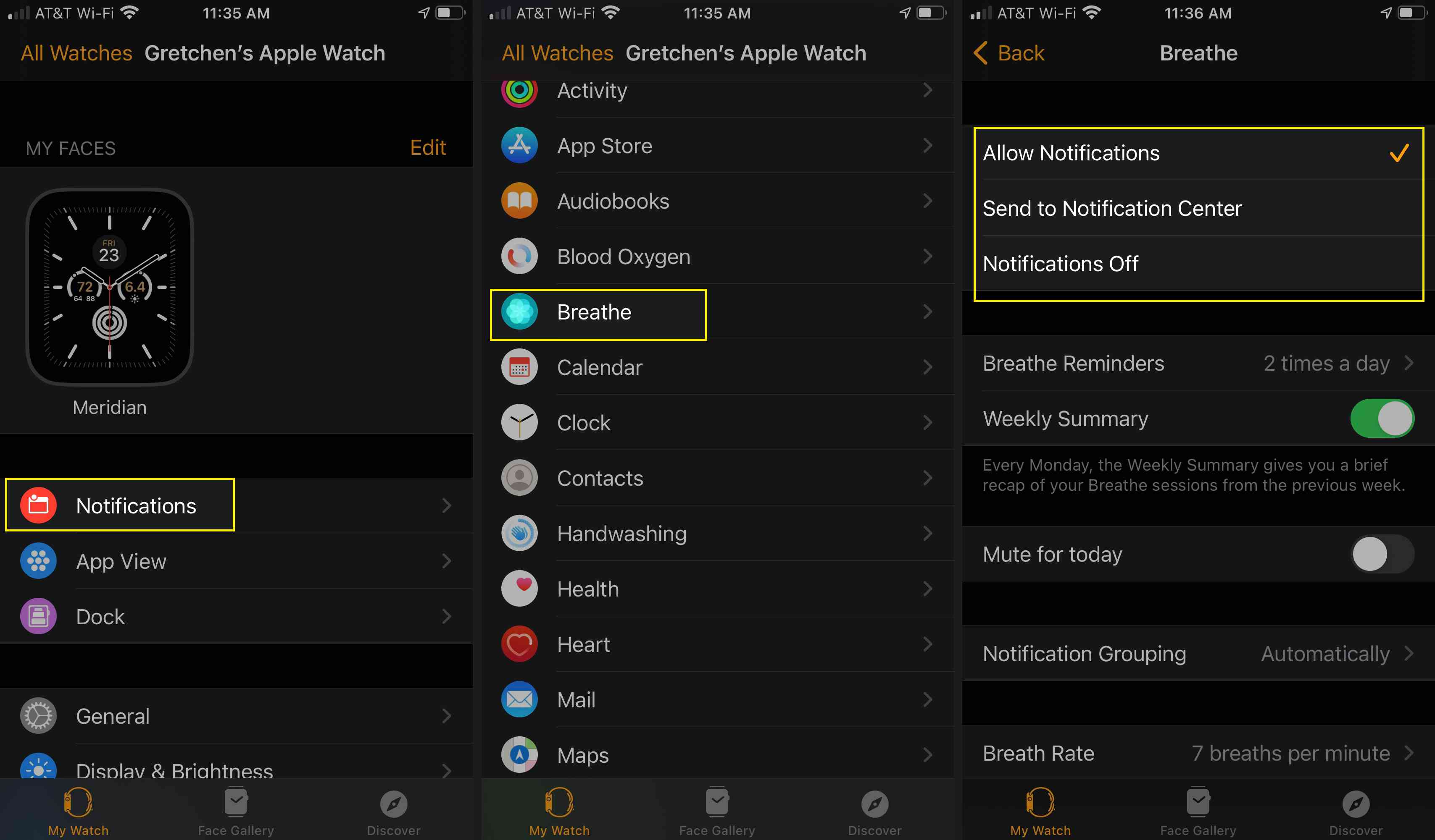 Customize your Breathe notifications on the Watch app