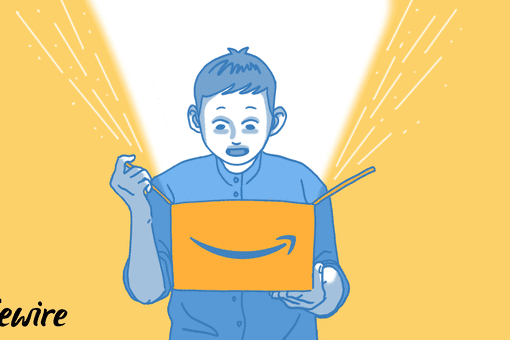 Illustration of a person looking into an Amazon box