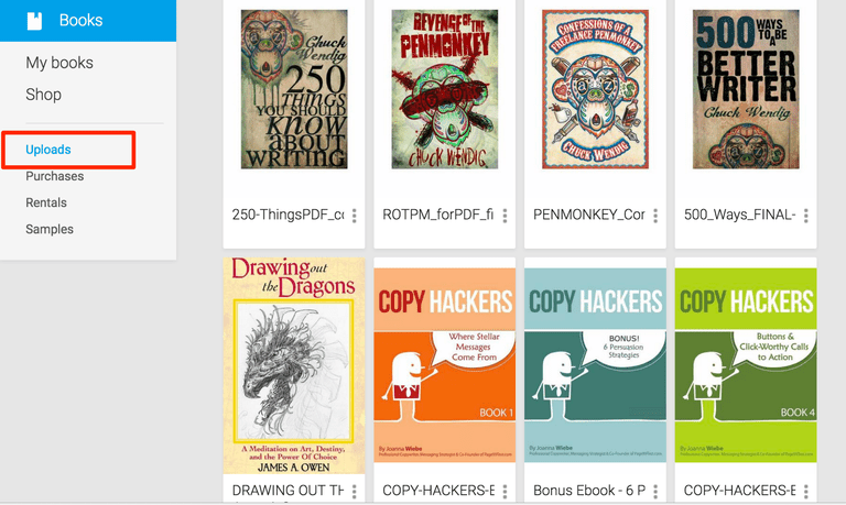 Screenshot of books uploaded to Google Books