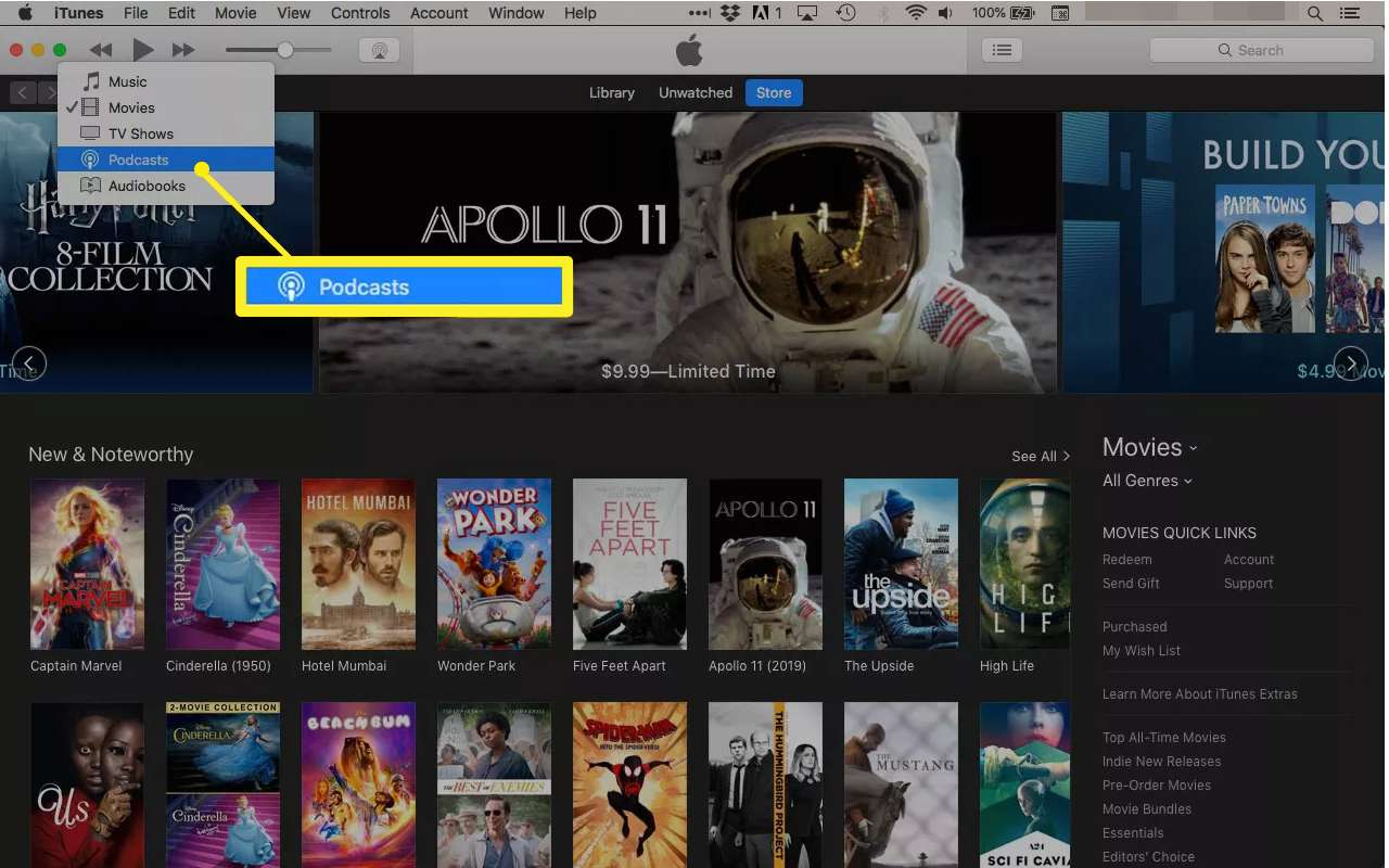 Podcasts highlighted in iTunes menu