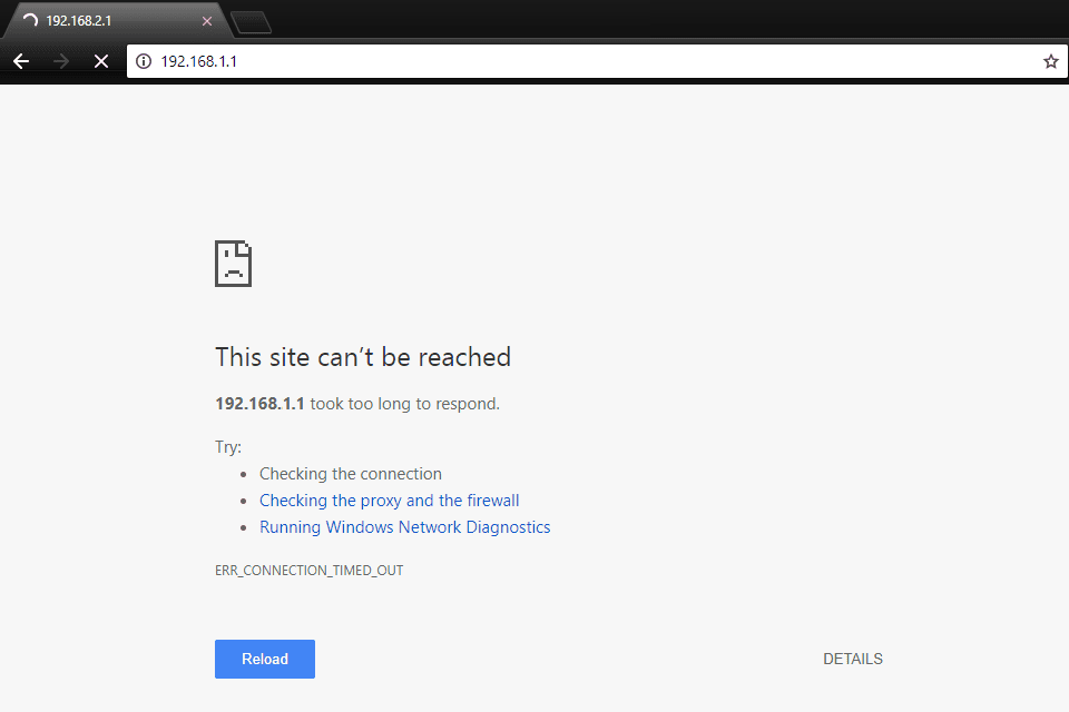 192.168.1.1 router that can't be reached