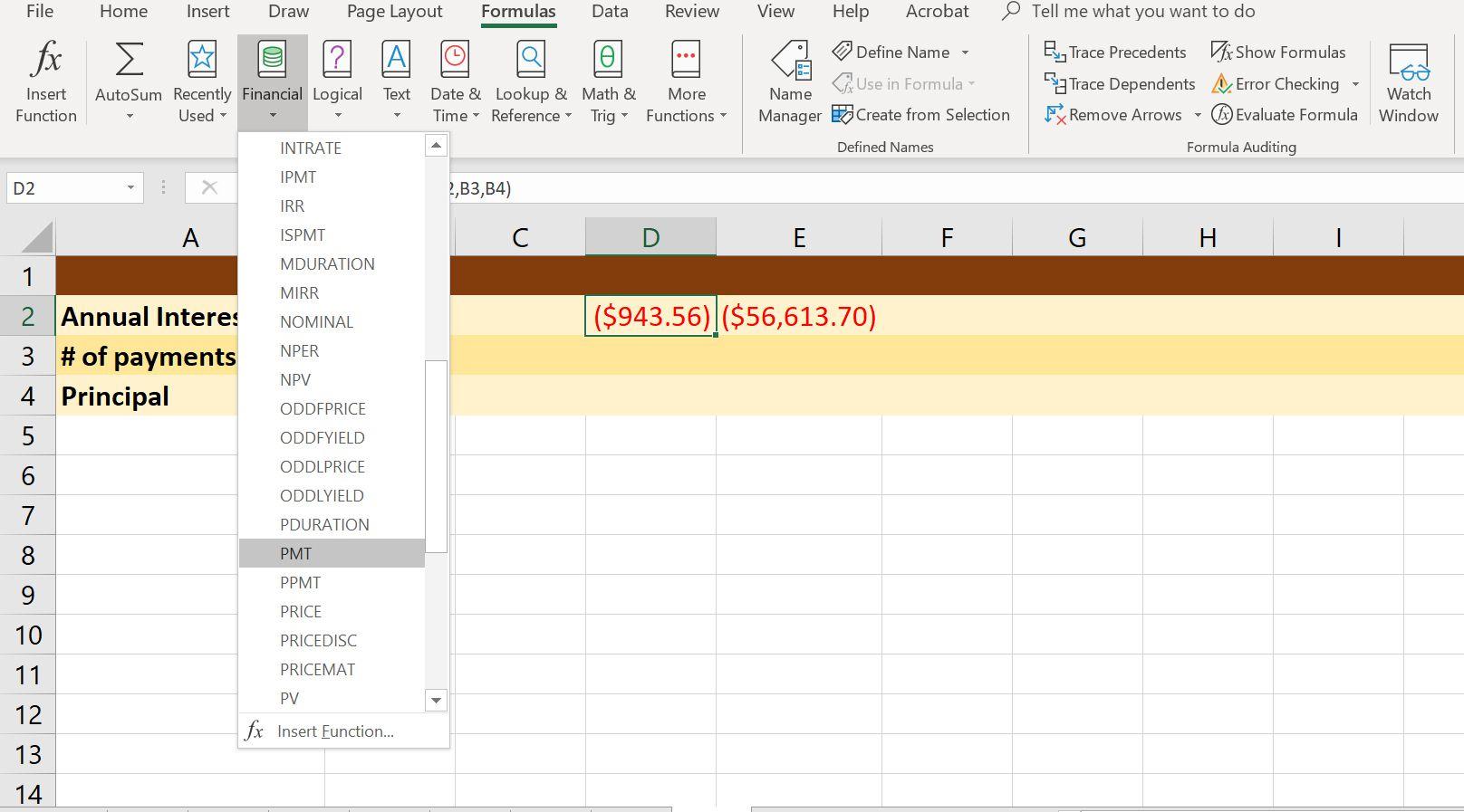 A screenshot of Excel's Financial formula drop-down menu with PMT selected.