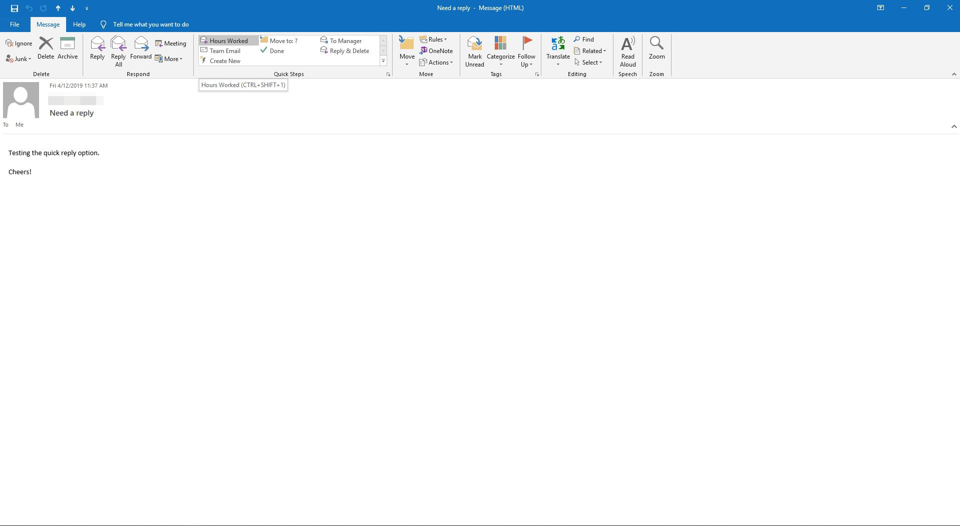 Selecting A Quick Steps Reply In Outlook
