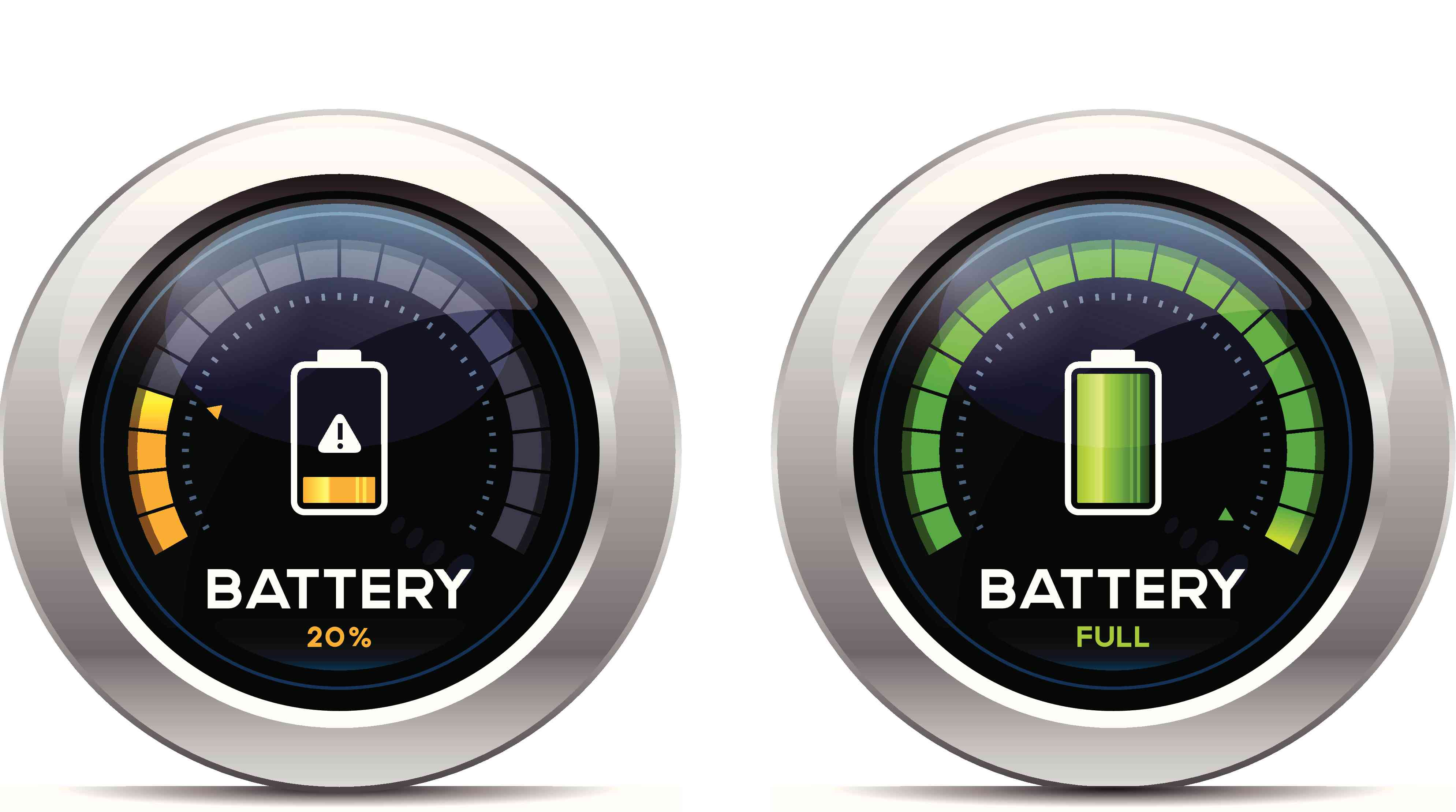 Battery indicators at partial and full