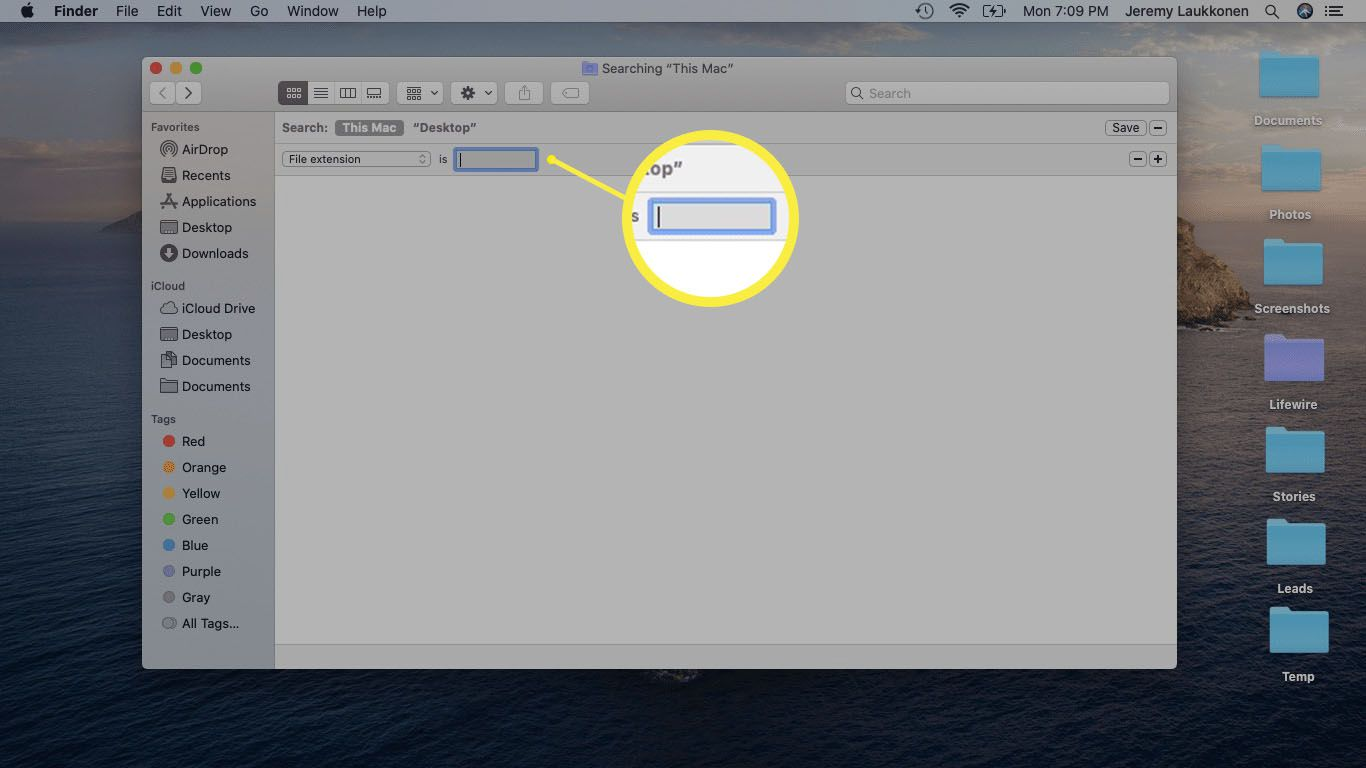 A screenshot of a Finder search window on macOS.