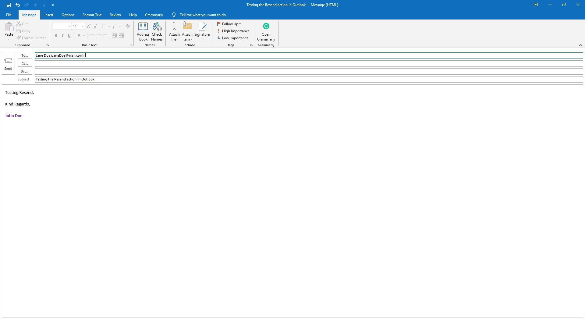 Outlook message that is ready to edit for resending.