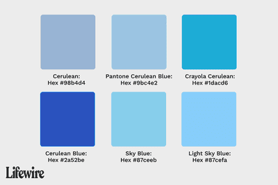 Various cerulean color swatches