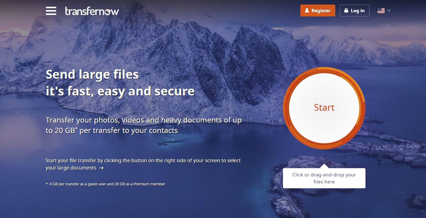 Screenshot of the TransferNow website.