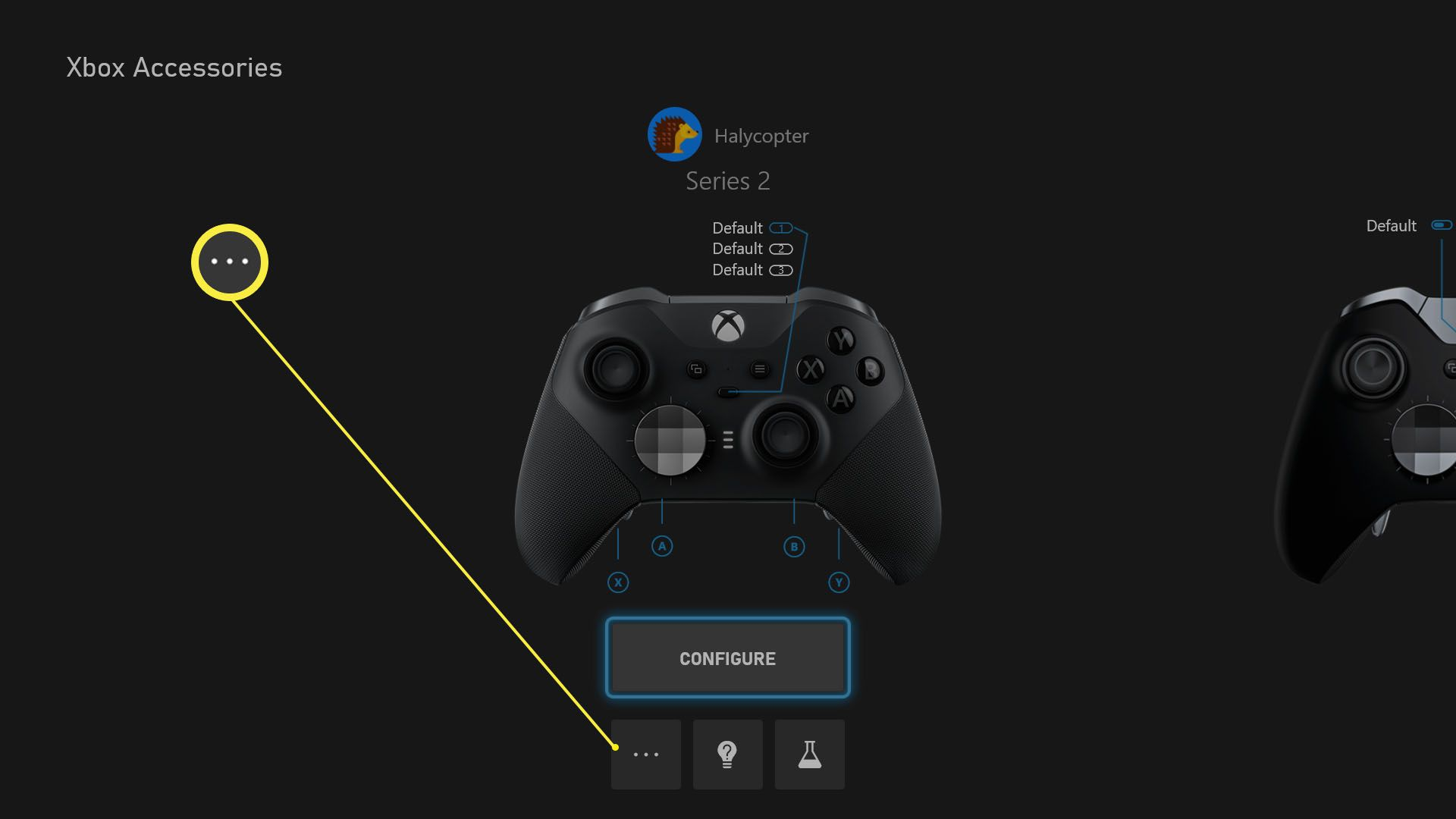 Xbox Accessories app with a controller setting highlighted