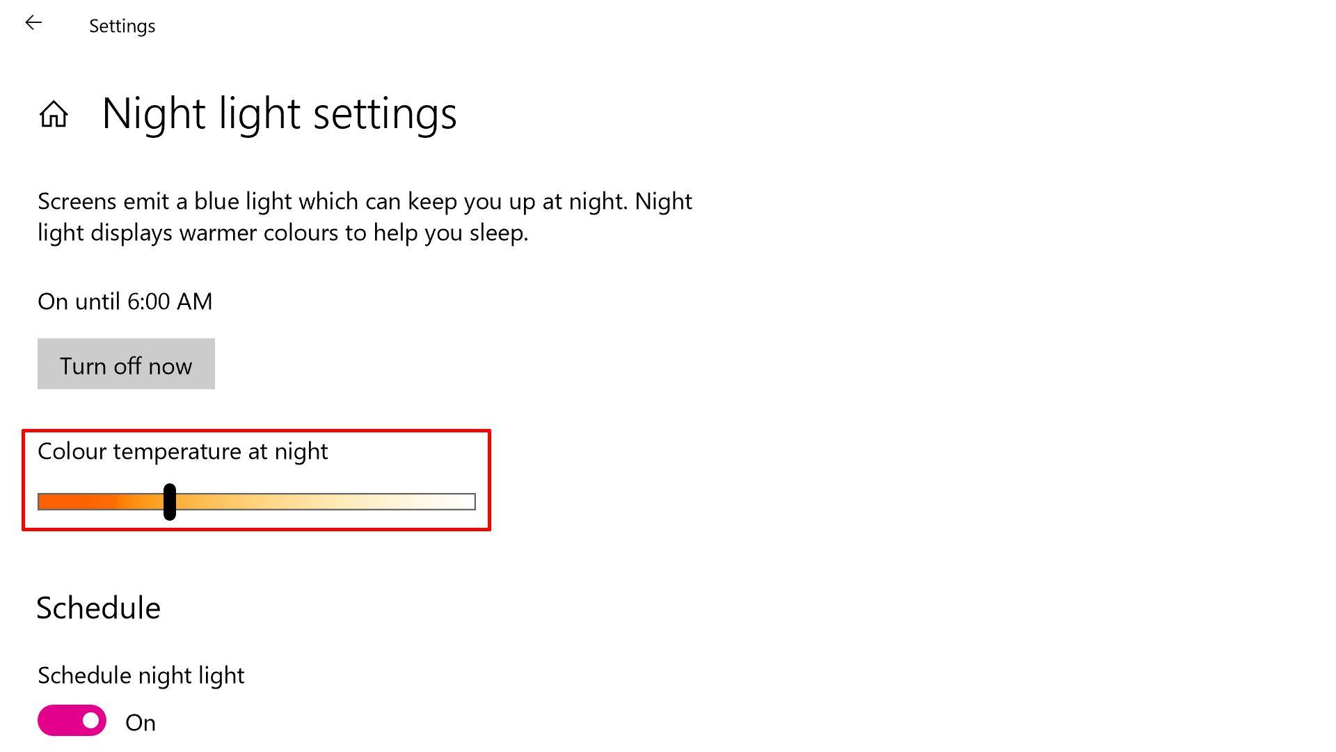 Windows 10 night light settings screenshot