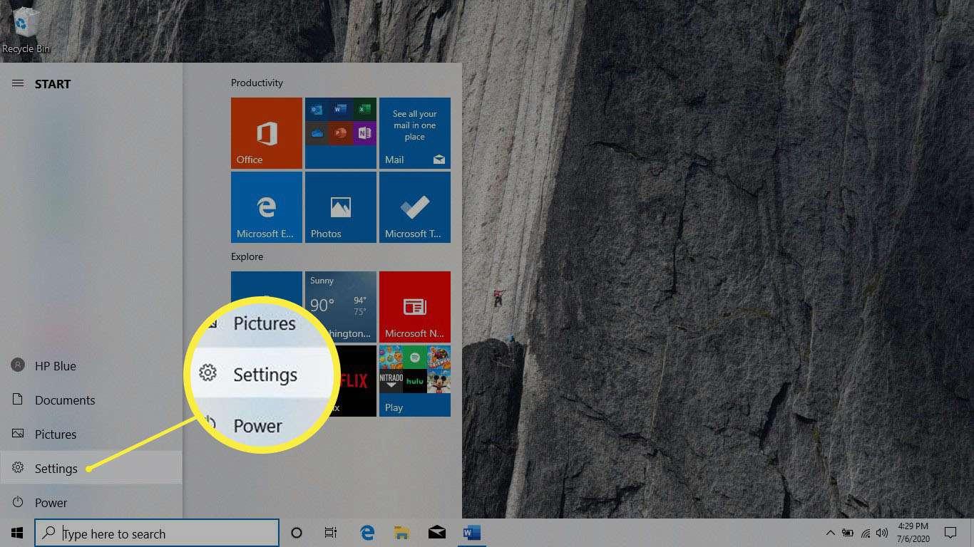 The Settings menu item highlighted in the Windows 10 Start menu.
