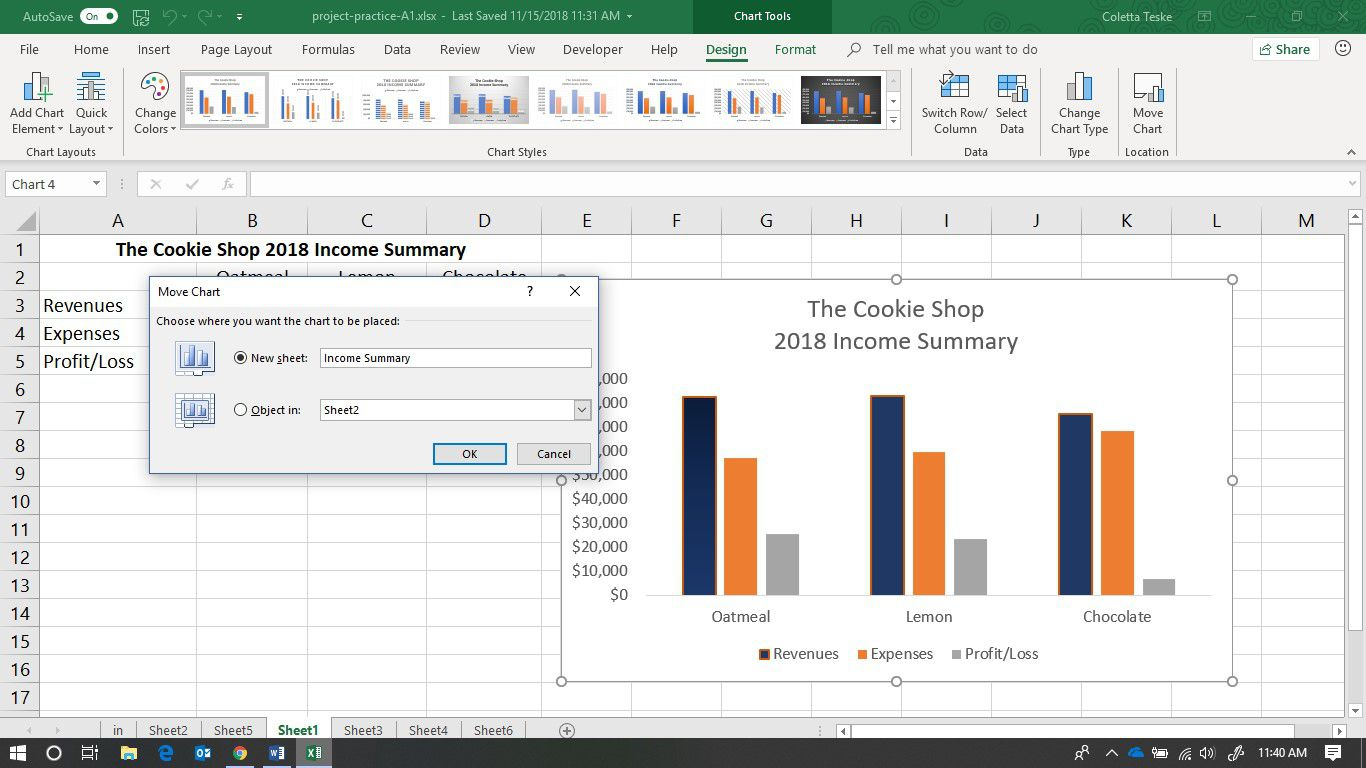 A screenshot showing how to move a chart to a new worksheet in Excel