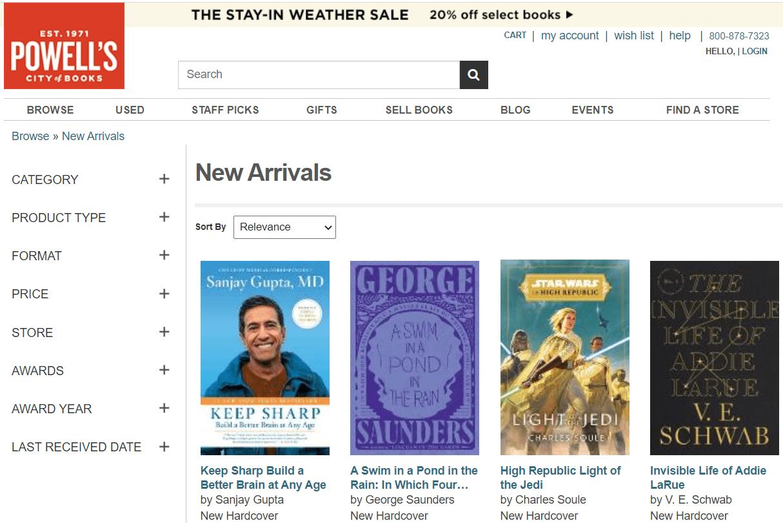 Screenshot of Powell's new book arrivals