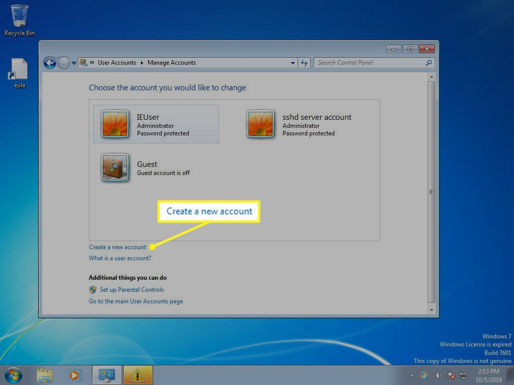 Windows 7 Manage Accounts with Create a new account selected