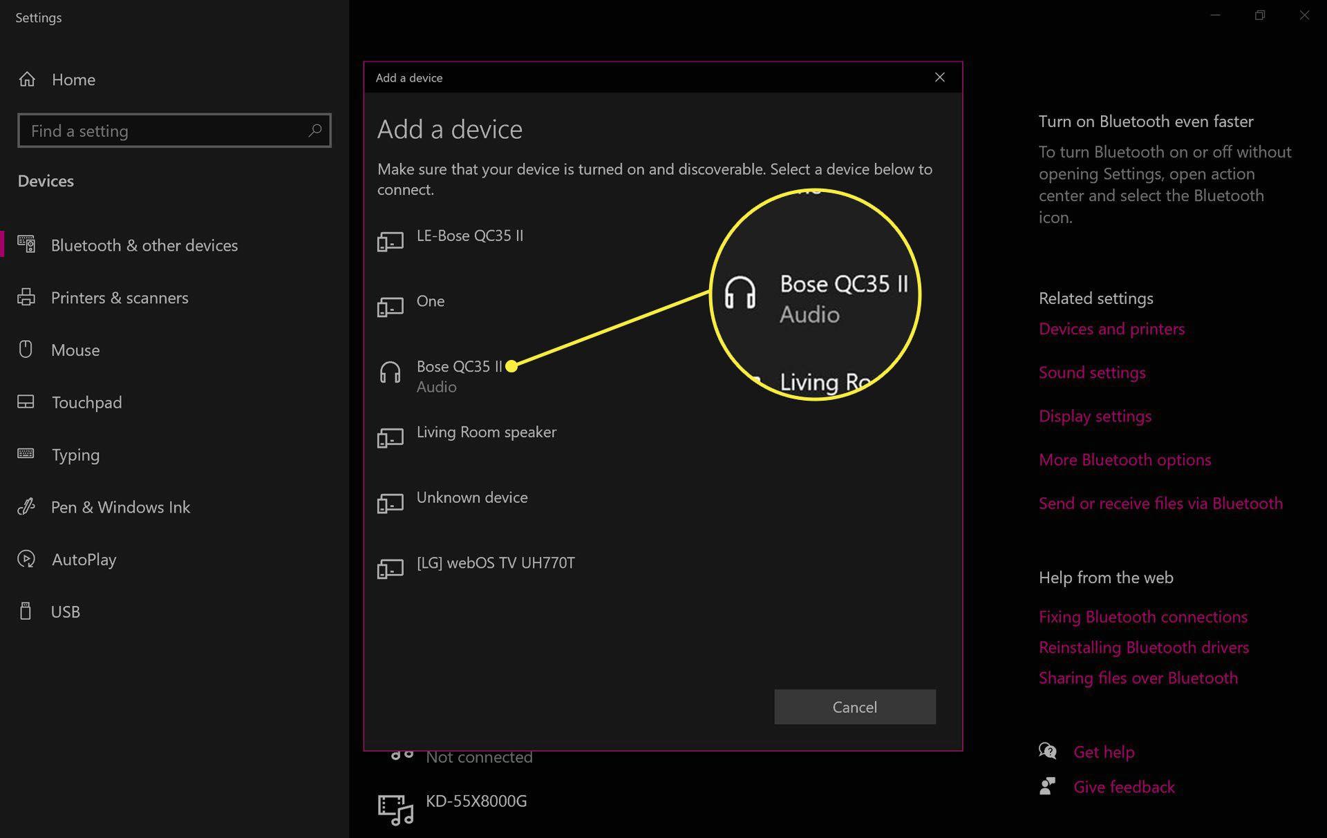 Bose headphones in Windows 10 Bluetooth settings.