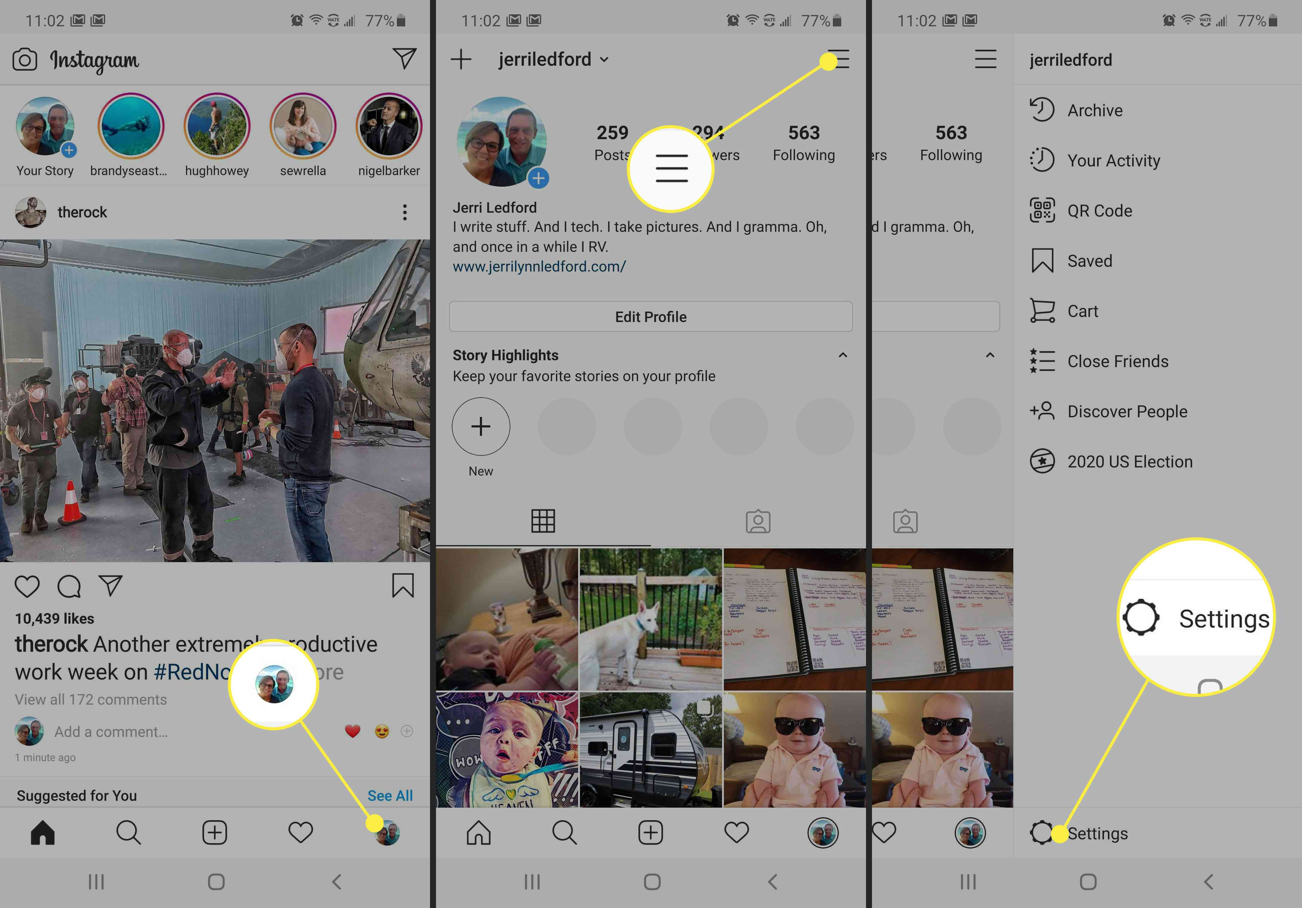 Screenshots showing the location of Settings in Instagram.