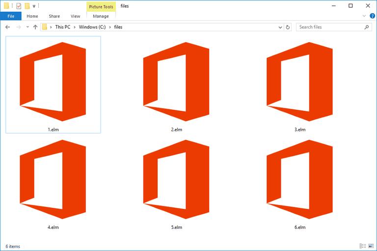 Screenshot of several ELM files in Windows 10