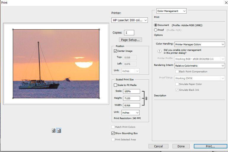 screenshot of print preview window in photoshop CS3