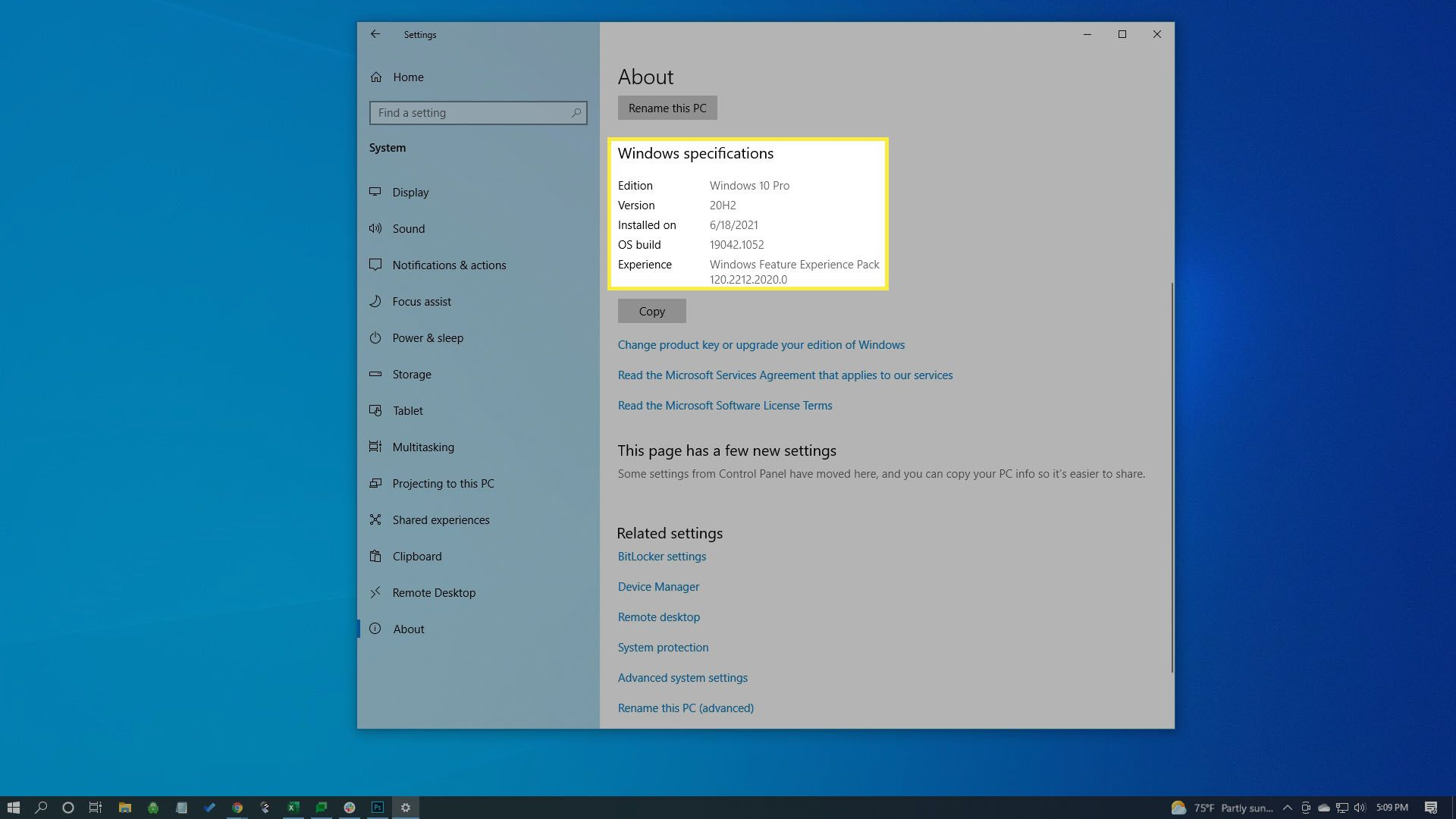 Windows version listed in System settings.