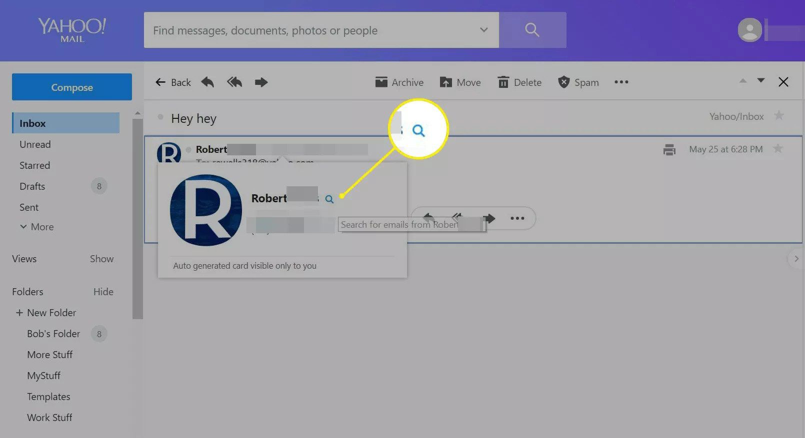 Magnifying glass in a message header in Yahoo Mail