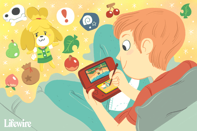 Person playing Animal Crossing on Nintendo 3DS