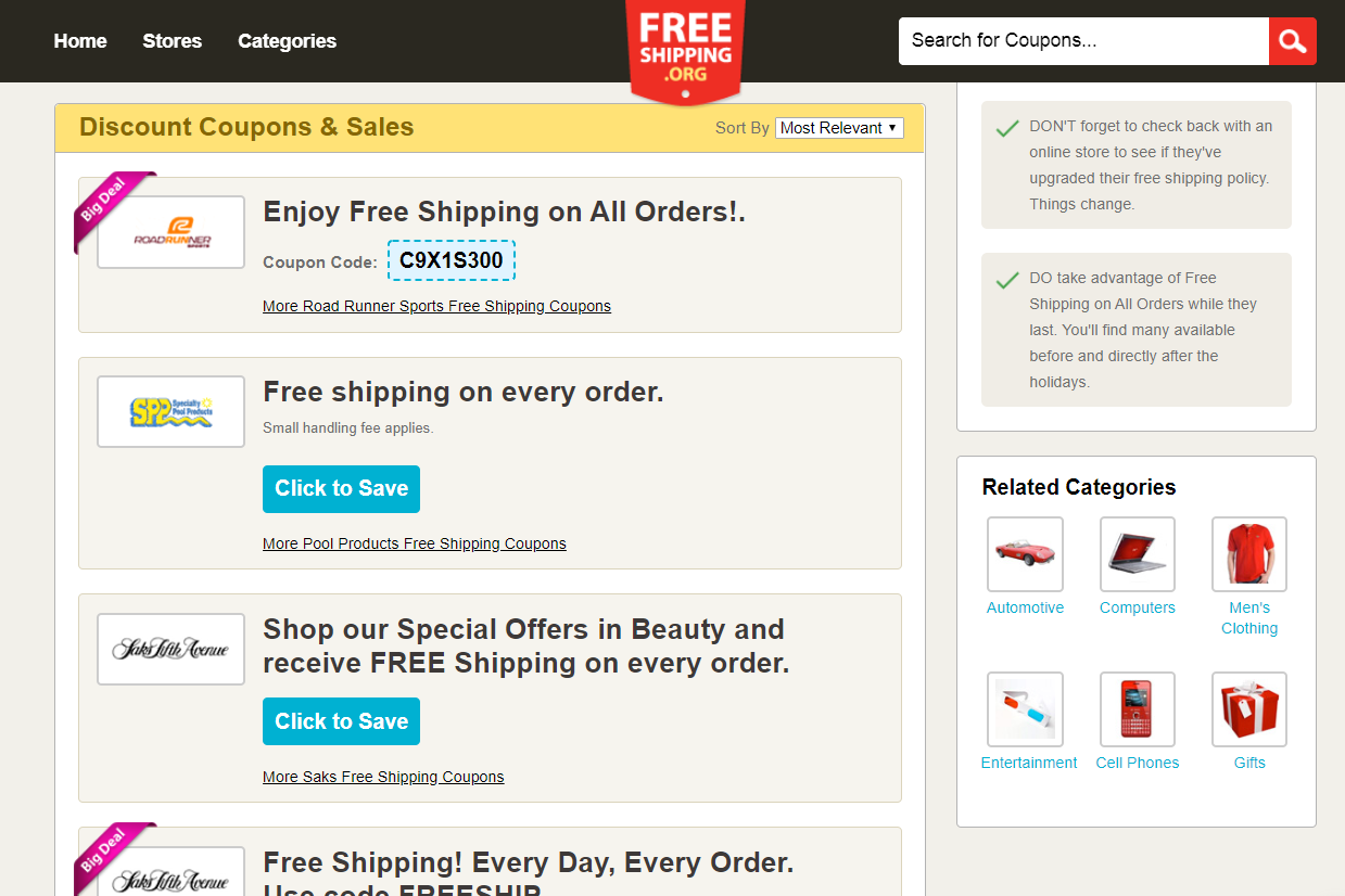FreeShipping.org discount coupons and sales