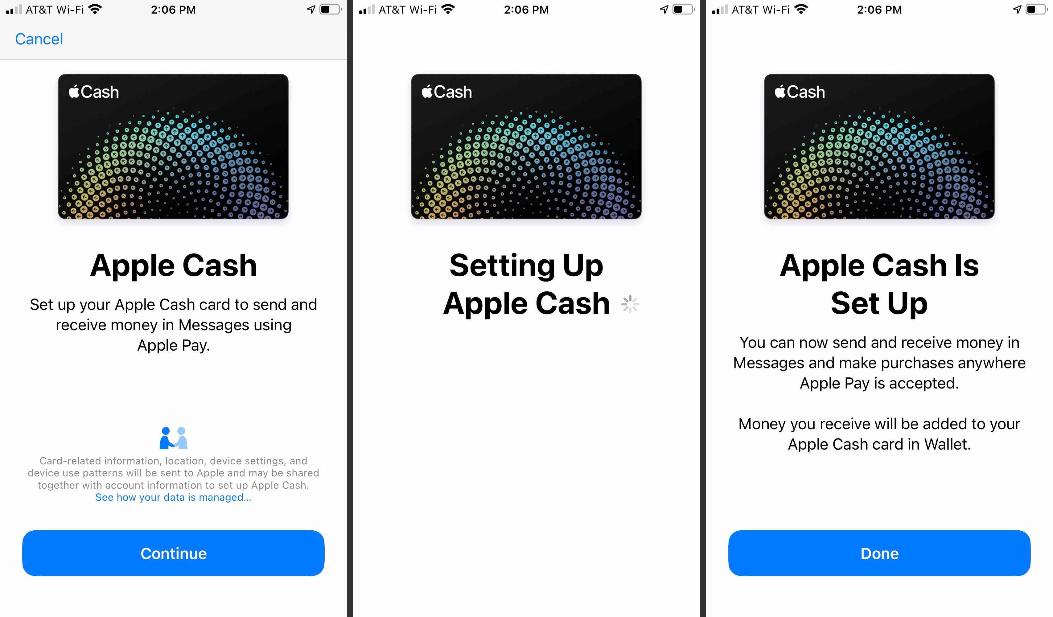 Apple Cash setup screens in Apple Pay