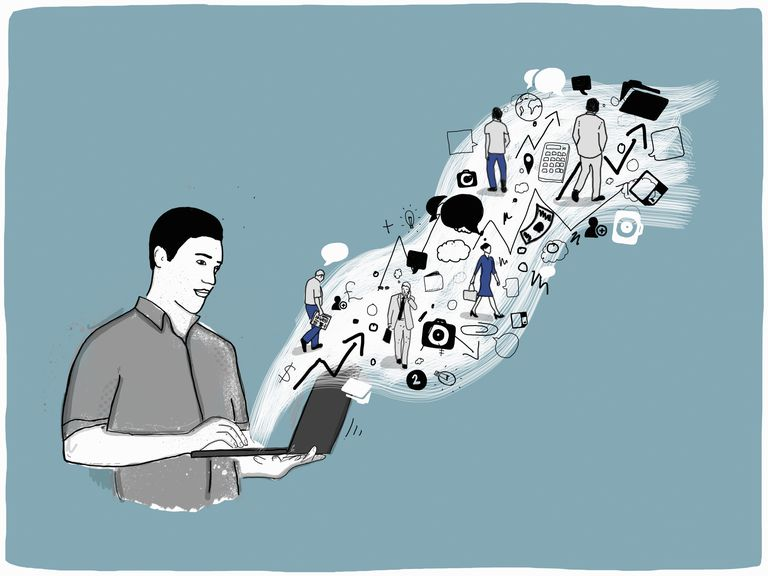 Illustration of man looking at laptop and various trends are popping out of the screen