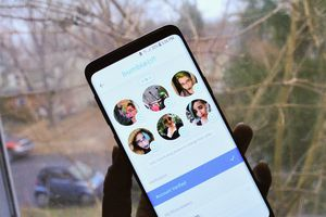 The profile page of Bumble BFF is displayed with a variety of photos and information displayed.
