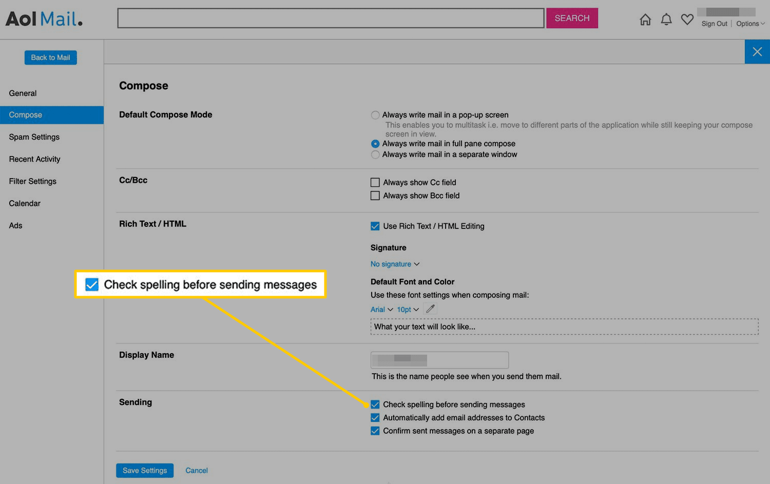 Check spelling before sending messages checkbox in AOL Mail on the web