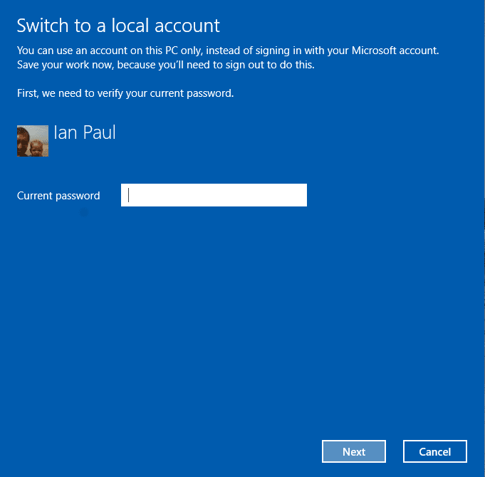 Enter your password to switch to a local account.