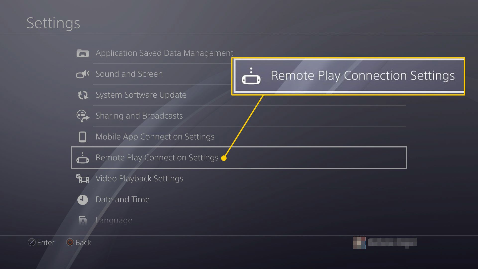 Remote Play Connection Settings in PS4 settings