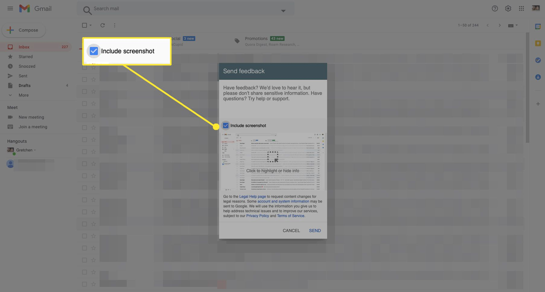 Google feedback window in Gmail with Include Screenshot highlighted