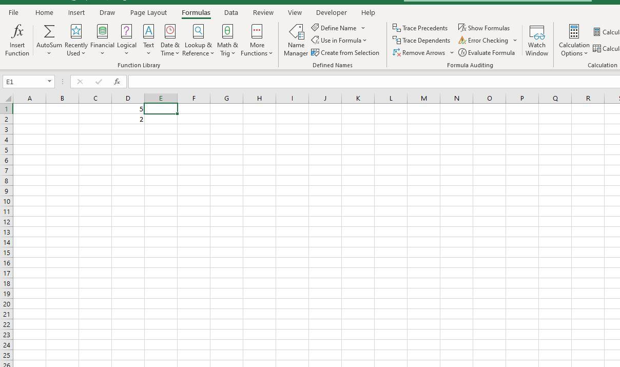 Formulas tab in Excel