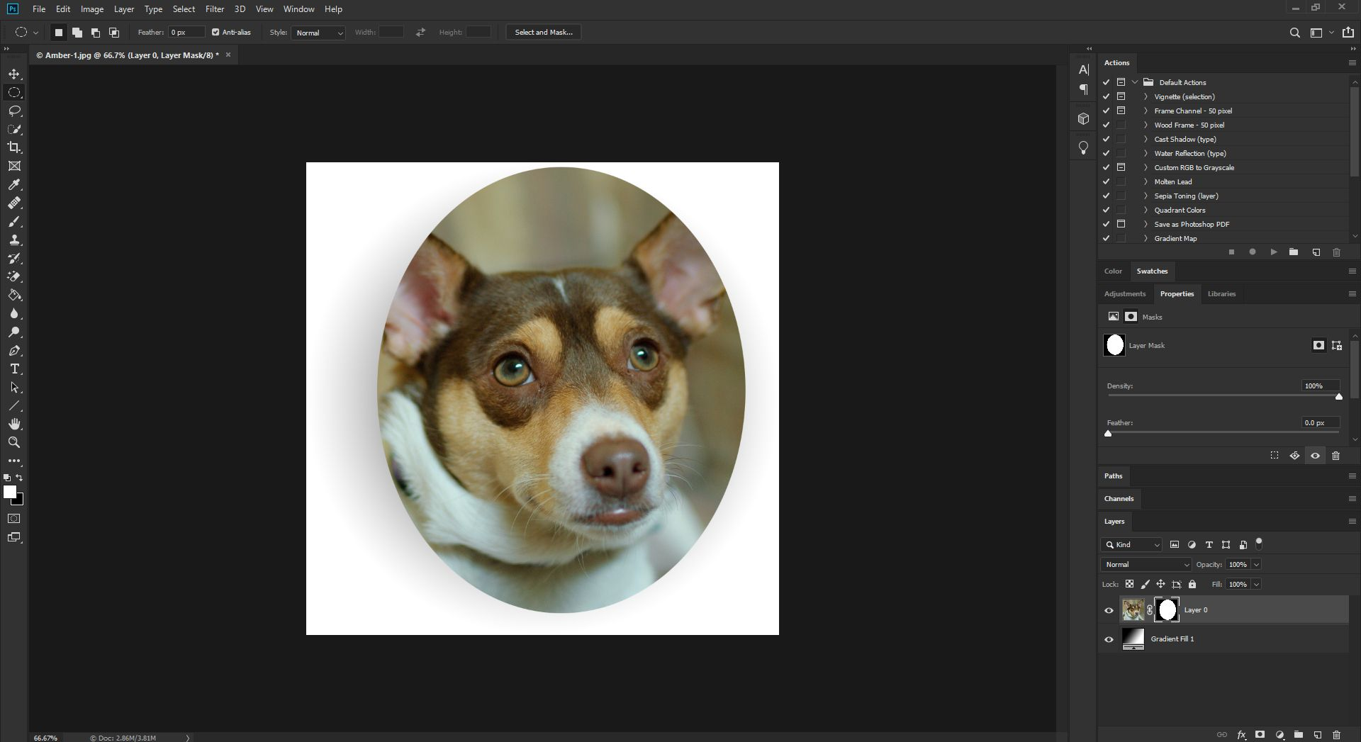 Viewing the vector mask properties in Photoshop CC.