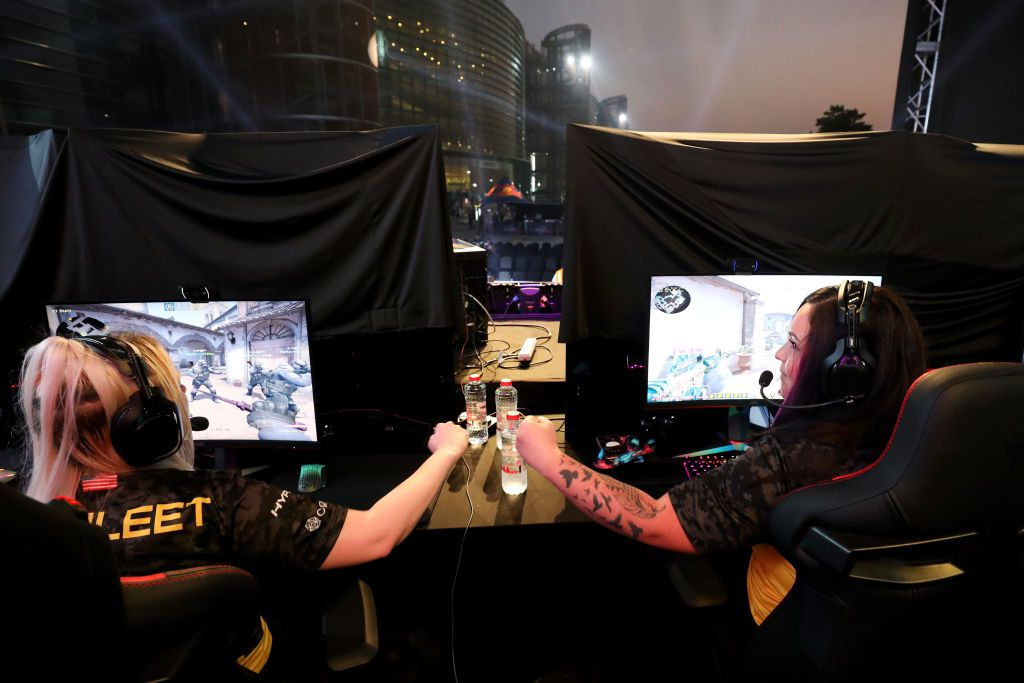 Members of Team Dignitas react during the CS:GO World Finals on Day Two of the Girl Gamer Esports Festival at Meydan Racecourse on February 22, 2020