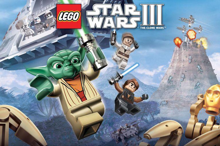 Lego Star Wars 3 promotional image with Lego Yoda, Obi Wan, C3-PO, and Anakin Skywalker