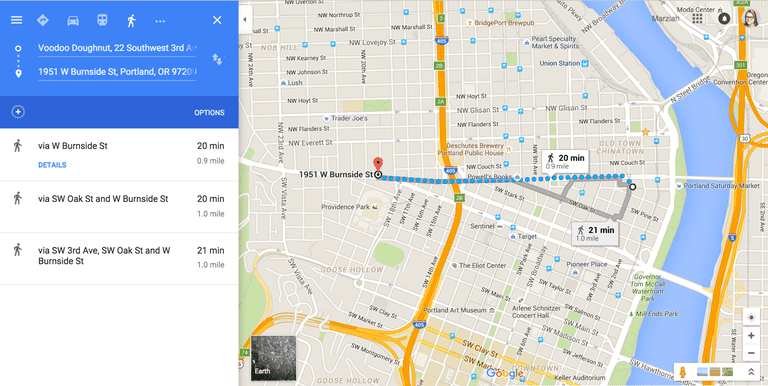 Screenshot of walking directions in Google Maps