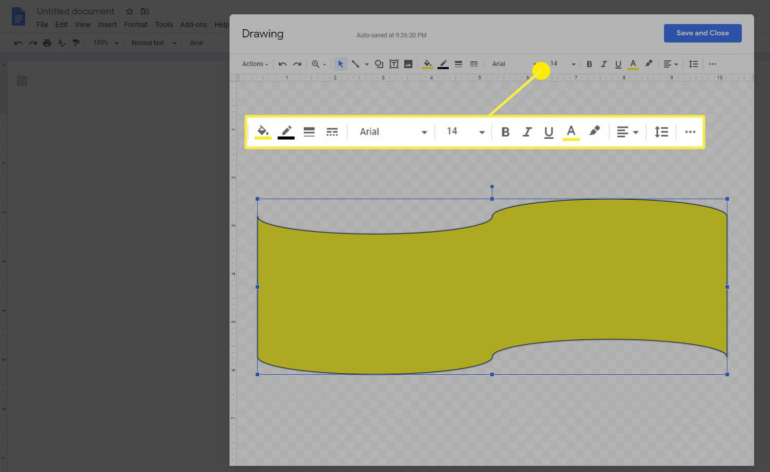 The shape context toolbar in Google Docs drawing feature.