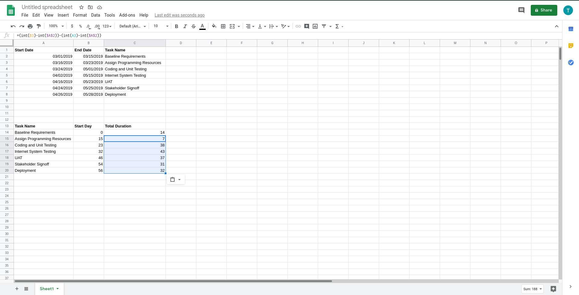 Google Sheets copy duration formula across cells