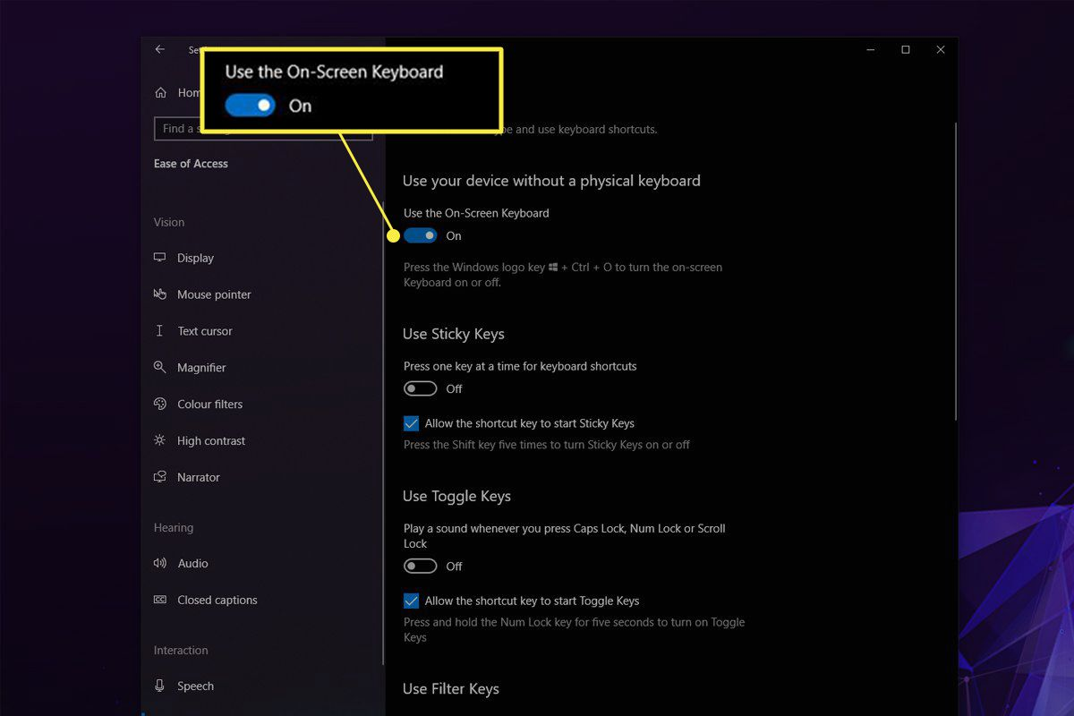 Ease of Access Keyboard menu in Windows 10 with