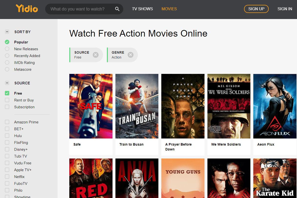 Screenshot of free action movies on Yidio