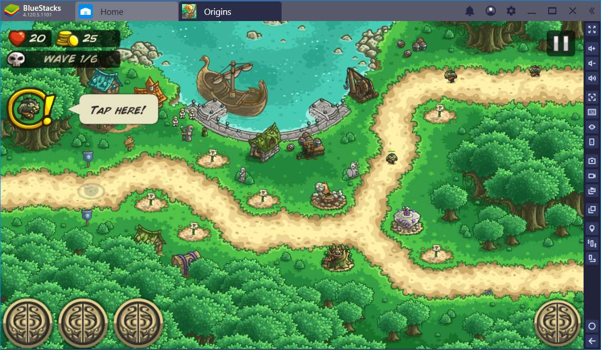 BlueStacks, showing Kingdom Rush Origins game in one tab, with Home tab displayed, as well.