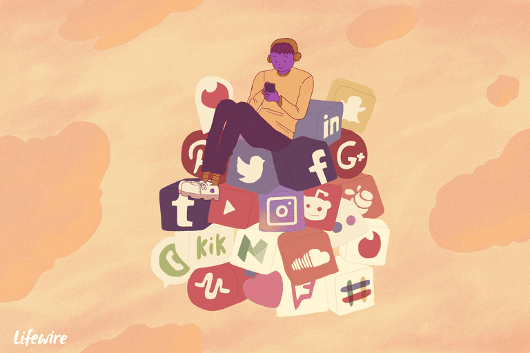 An illustration of a person sitting on a mountain of the top social media services.