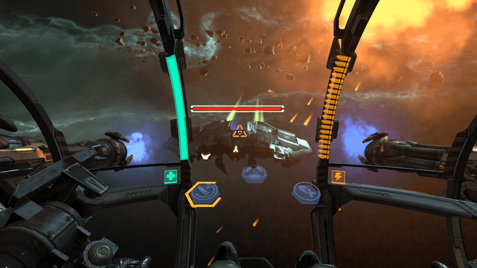 A large spaceship is being targeted while you sit inside a panel