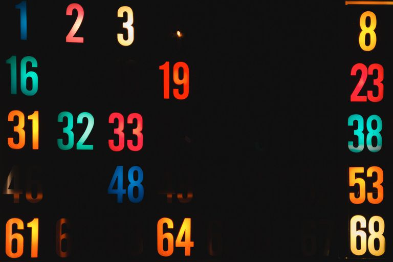 Colored numbers lit up on a board.