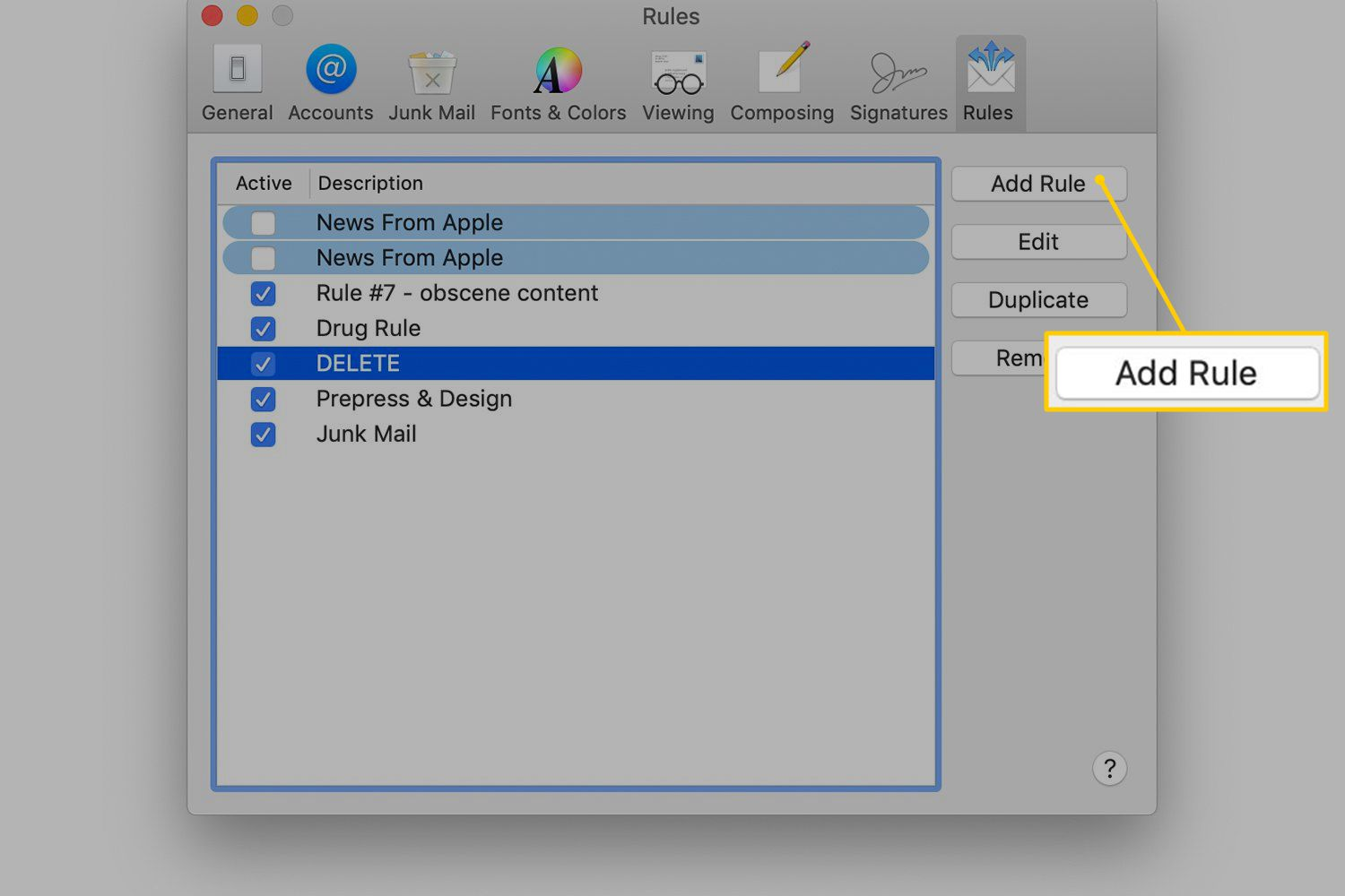 Add Rule button in macOS Mail Preferences