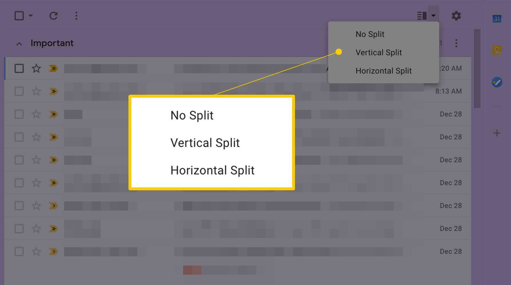 Preview pane options No Split, Vertical Split, Horizontal Split screenshot