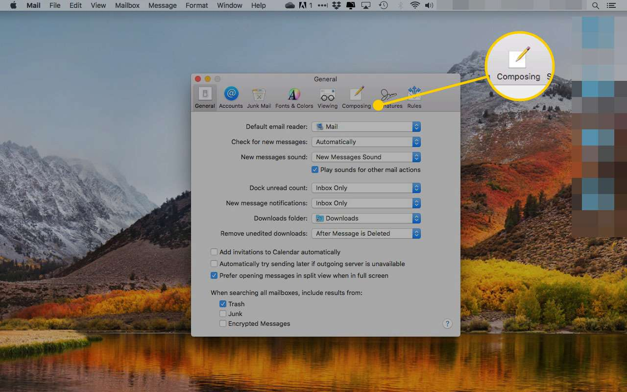 Preferences in macOS Mail with the Composing tab highlighted