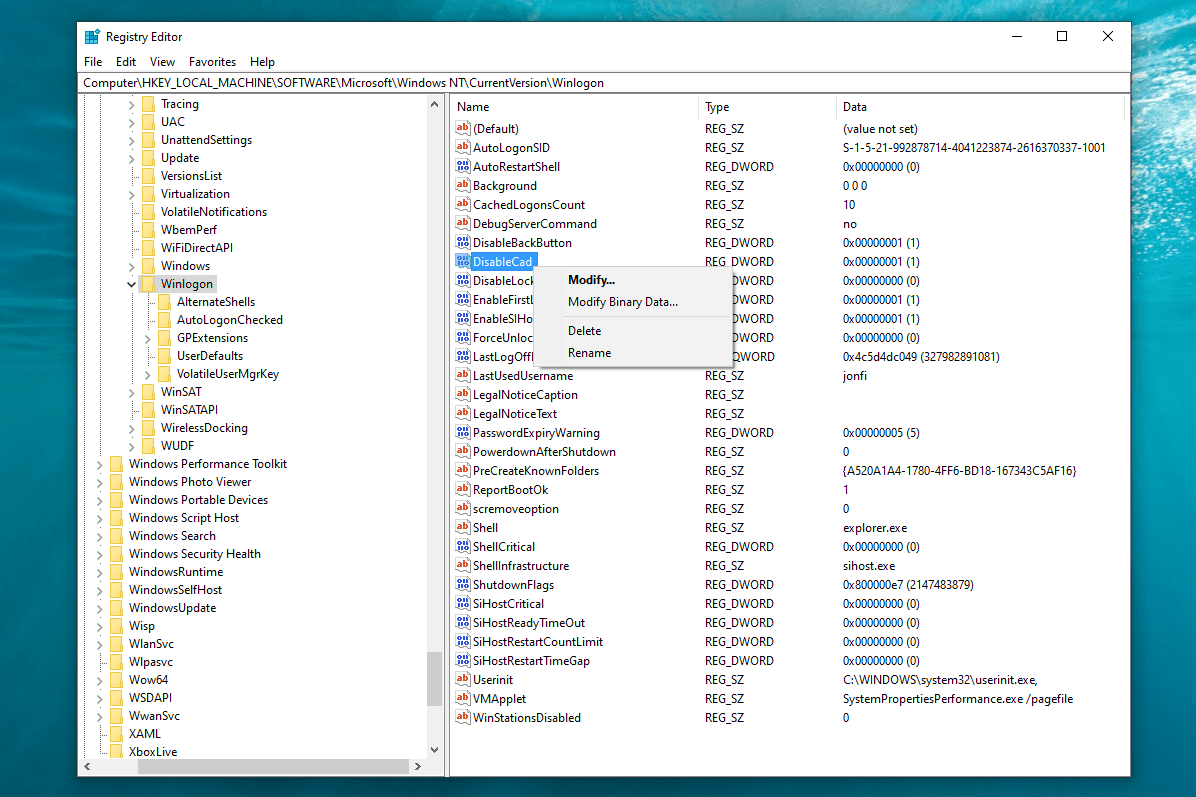 Modify and rename options for registry value in Windows 10